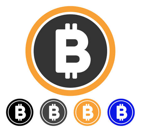 Bitcoin Coin icon. Vector illustration style is flat iconic symbol with black, gray, orange, blue color variants. Designed for web and software interfaces.