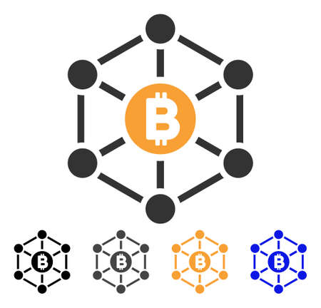 Bitcoin Finance Netwok icon. Vector illustration style is flat iconic symbol with black, grey, orange, blue color variants. Designed for web and software interfaces.