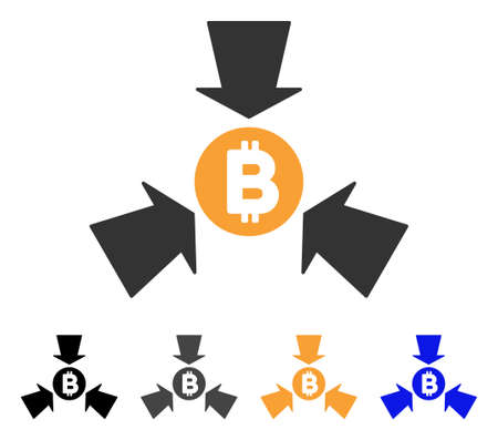 takings: Bitcoin Collect Arrows icon. Vector illustration style is flat iconic symbol with black, gray, orange, blue color variants. Designed for web and software interfaces. Illustration
