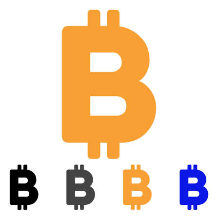 Bitcoin Letter icon. Vector illustration style is flat iconic symbol with black, grey, orange, blue color variants. Designed for web and software interfaces.