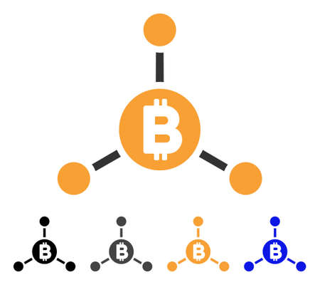 Bitcoin Links icon. Vector illustration style is flat iconic symbol with black, gray, orange, blue color variants. Designed for web and software interfaces. Illustration