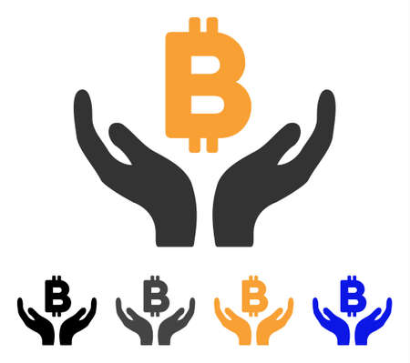 Bitcoin Maintenance Hands icon. Vector illustration style is flat iconic symbol with black, gray, orange, blue color variants. Designed for web and software interfaces. Illustration