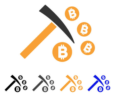 Bitcoin Mining Hammer icon. Vector illustration style is flat iconic symbol with black, grey, orange, blue color variants. Designed for web and software interfaces. Illustration