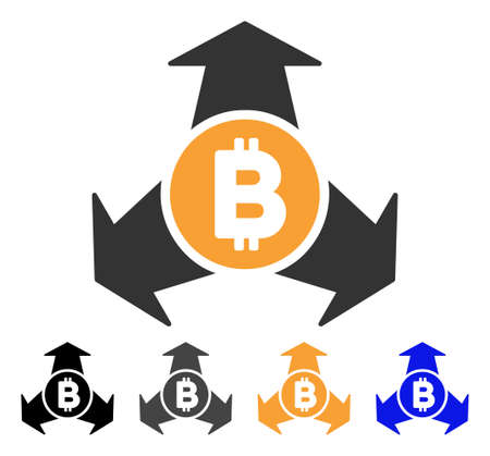 Bitcoin Spend Arrows icon. Vector illustration style is flat iconic symbol with black, gray, orange, blue color variants. Designed for web and software interfaces. Illustration