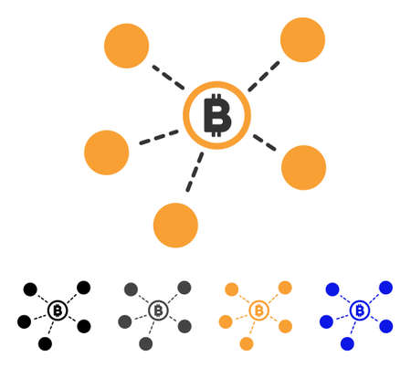 Bitcoin Network icon. Vector illustration style is flat iconic symbol with black, gray, orange, blue color variants. Designed for web and software interfaces. Illustration
