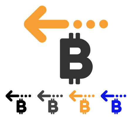Bitcoin Refund Back icon. Vector illustration style is flat iconic symbol with black, gray, orange, blue color variants. Designed for web and software interfaces. Illustration