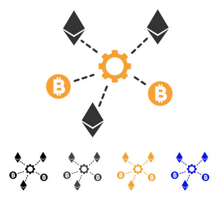 Cryptocurrency Network Nodes icon. Vector illustration style is flat iconic symbol with black, gray, orange, blue color variants. Designed for web and software interfaces.