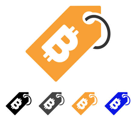 Bitcoin Tag icon. Vector illustration style is flat iconic symbol with black, gray, orange, blue color variants. Designed for web and software interfaces.