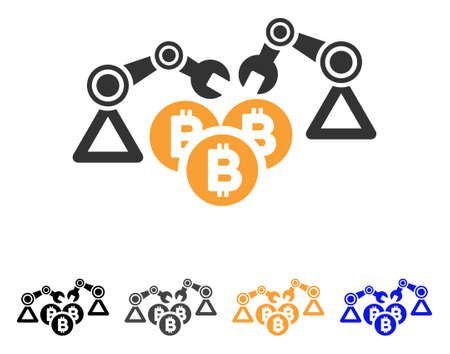 Bitcoin Mining Robotics icon. Vector illustration style is flat iconic symbol with black, gray, orange, blue color variants. Designed for web and software interfaces. Illustration