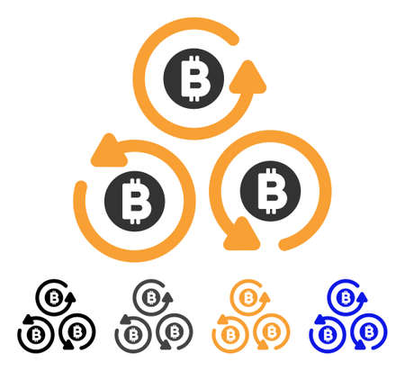 Bitcoin Mixer Rotation icon. Vector illustration style is flat iconic symbol with black, grey, orange, blue color variants. Designed for web and software interfaces.