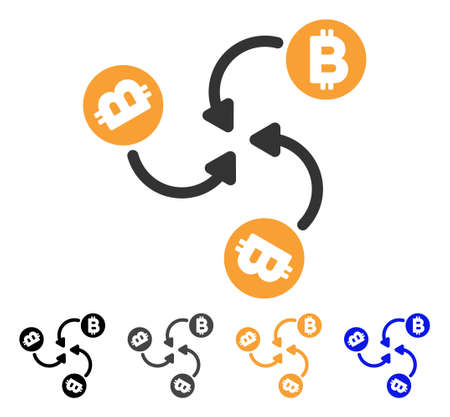 Bitcoin Mixer Swirl icon. Vector illustration style is flat iconic symbol with black, gray, orange, blue color variants. Designed for web and software interfaces. Illustration