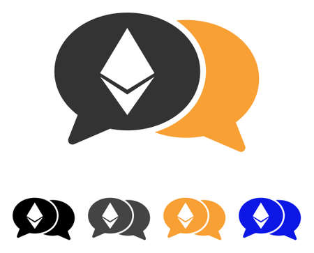 Ethereum Chat icon. Vector illustration style is flat iconic symbol with black, grey, orange, blue color variants. Designed for web and software interfaces. Illustration