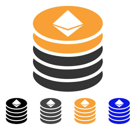 Ethereum Coin Stack icon. Vector illustration style is flat iconic symbol with black, grey, orange, blue color variants. Designed for web and software interfaces. Illustration
