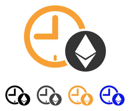 Ethereum Credit Clock icon. Vector illustration style is flat iconic symbol with black, grey, orange, blue color variants. Designed for web and software interfaces.