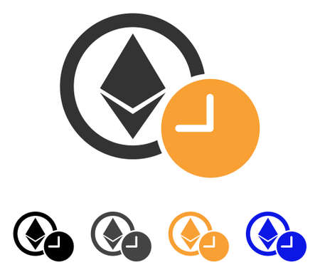 Ethereum Credit Clock icon. Vector illustration style is flat iconic symbol with black, gray, orange, blue color variants. Designed for web and software interfaces. Illustration