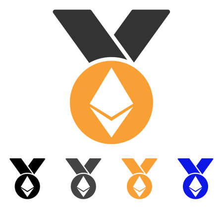 Ethereum Medal With Ribbons icon. Vector illustration style is flat iconic symbol with black, gray, orange, blue color variants. Designed for web and software interfaces. Illustration