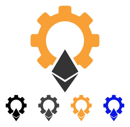 Ethereum Gear icon. Vector illustration style is flat iconic symbol with black, gray, orange, blue color variants. Designed for web and software interfaces.