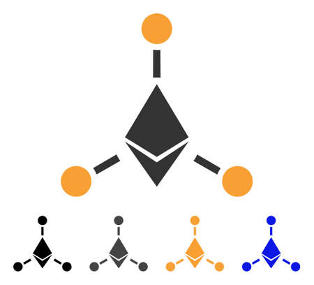 Ethereum Links icon. Vector illustration style is flat iconic symbol with black, gray, orange, blue color variants. Designed for web and software interfaces. Illustration