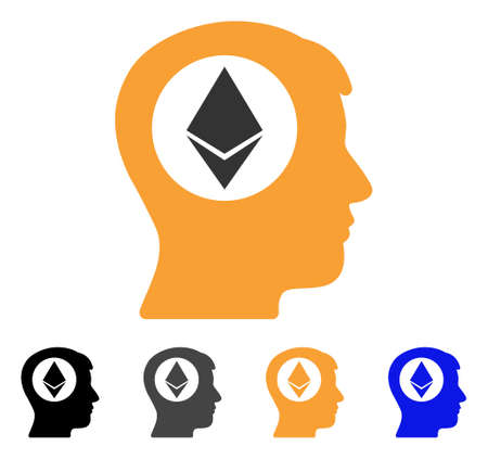 Ethereum Mind icon. Vector illustration style is flat iconic symbol with black, gray, orange, blue color variants. Designed for web and software interfaces. Illustration