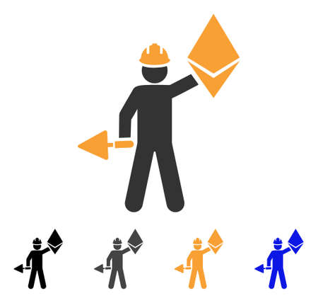 Ethereum Miner icon. Vector illustration style is flat iconic symbol with black, gray, orange, blue color variants. Designed for web and software interfaces. Illustration
