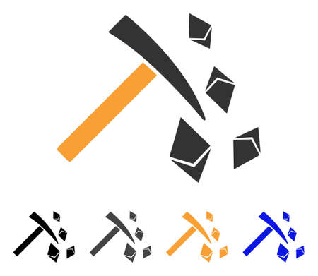 Ethereum Mining Hammer icon. Vector illustration style is flat iconic symbol with black, gray, orange, blue color variants. Designed for web and software interfaces.