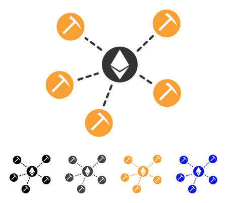 Ethereum Mining Pool icon. Vector illustration style is flat iconic symbol with black, grey, orange, blue color variants. Designed for web and software interfaces.