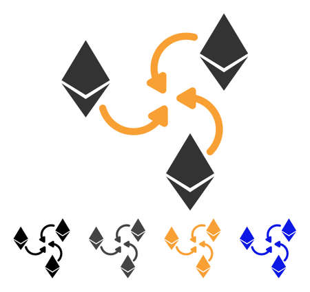 Ethereum Mixer Swirl icon. Vector illustration style is flat iconic symbol with black, gray, orange, blue color variants. Designed for web and software interfaces.