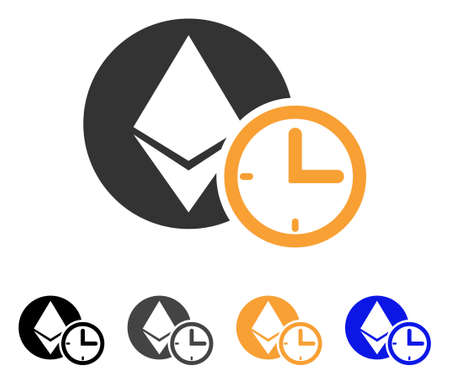 Ethereum Credit Time icon. Vector illustration style is flat iconic symbol with black, gray, orange, blue color variants. Designed for web and software interfaces. Illustration