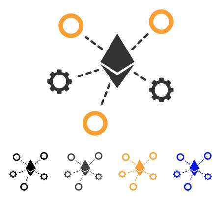 Ethereum Network Nodes icon. Vector illustration style is flat iconic symbol with black, grey, orange, blue color variants. Designed for web and software interfaces.