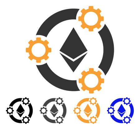 Ethereum Pool Collaboration icon. Vector illustration style is flat iconic symbol with black, grey, orange, blue color variants. Designed for web and software interfaces. Illustration
