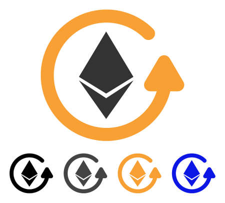 Ethereum Refund icon. Vector illustration style is flat iconic symbol with black, gray, orange, blue color variants. Designed for web and software interfaces. Illustration