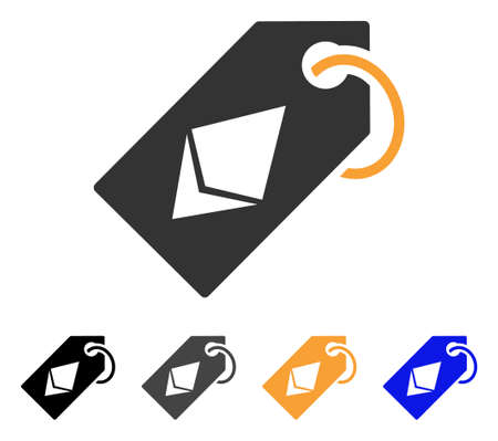 Ethereum Tag icon. Vector illustration style is flat iconic symbol with black, grey, orange, blue color variants. Designed for web and software interfaces. Illustration