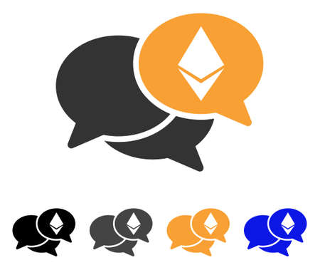 Ethereum Webinar Messages icon. Vector illustration style is flat iconic symbol with black, gray, orange, blue color variants. Designed for web and software interfaces. Illustration