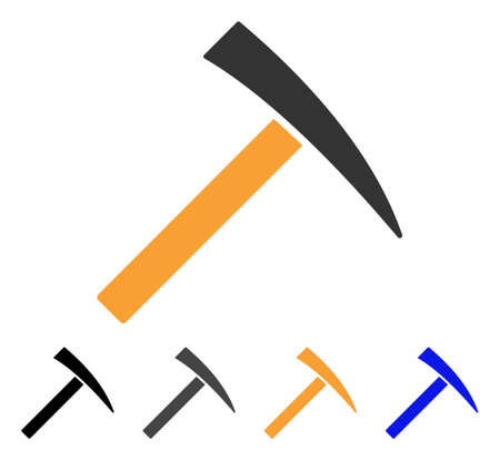 Mining Hammer icon. Vector illustration style is flat iconic symbol with black, gray, orange, blue color variants. Designed for web and software interfaces.