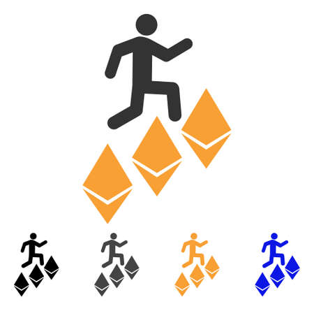 Person Climb Ethereum icon. Vector illustration style is flat iconic symbol with black, gray, orange, blue color variants. Designed for web and software interfaces.