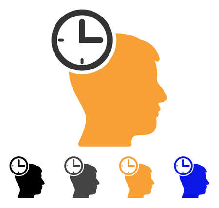 Time Management Head icon. Vector illustration style is flat iconic symbol with black, gray, orange, blue color variants. Designed for web and software interfaces. Illustration