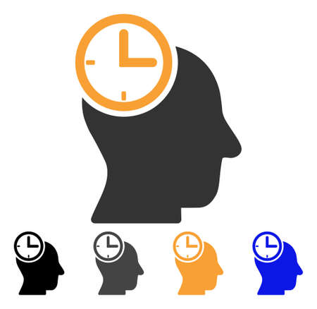 Time Thinking Head icon. Vector illustration style is flat iconic symbol with black, grey, orange, blue color variants. Designed for web and software interfaces.