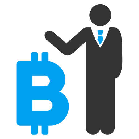 Bitcoin Banker flat raster illustration for application and web design.