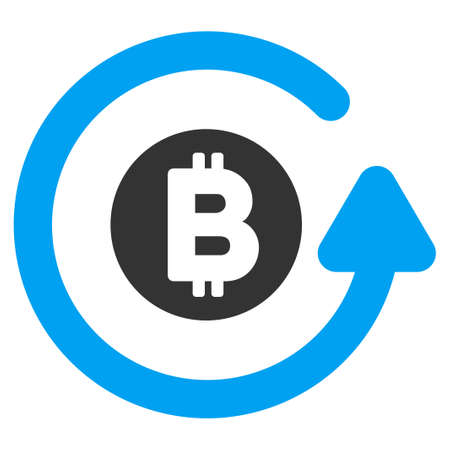 Bitcoin Chargeback flat raster icon for application and web design. Stock Photo
