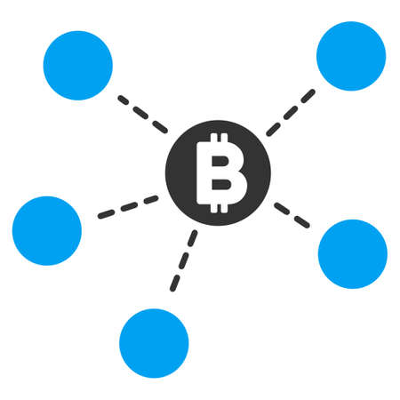 Bitcoin Net Structure flat raster pictogram for application and web design.