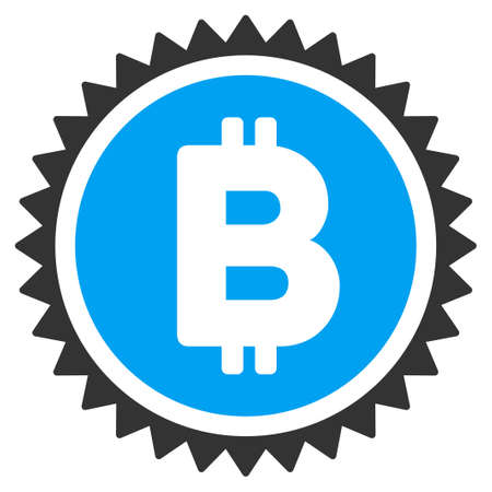 Bitcoin Medal Coin flat raster icon for application and web design.