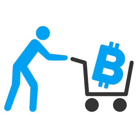 Bitcoin Shopping Cart flat raster icon for application and web design.