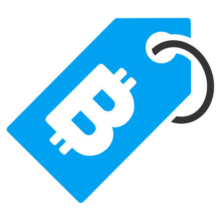 Bitcoin Tag flat raster illustration for application and web design.