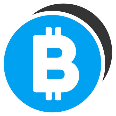 Bitcoin Coins flat raster icon for application and web design.