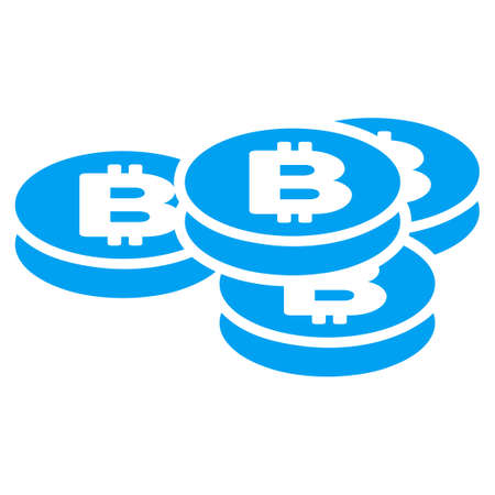 Bitcoin Coins flat raster illustration for application and web design.