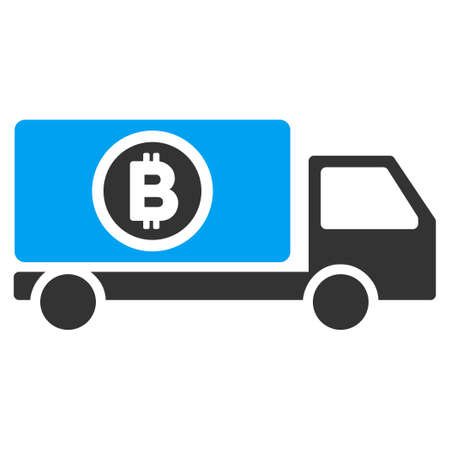 Bitcoin Delivery Truck flat raster illustration for application and web design.