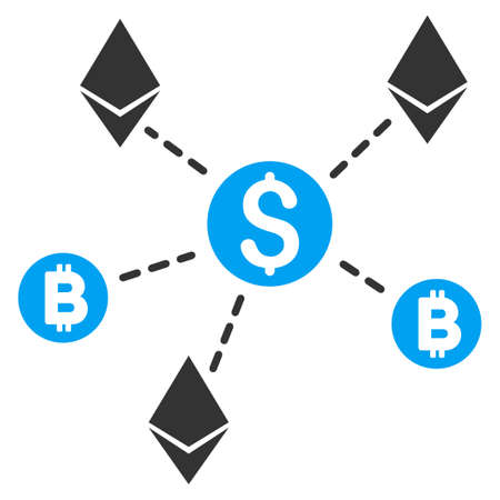 Cryptocurrency Network flat raster illustration for application and web design.