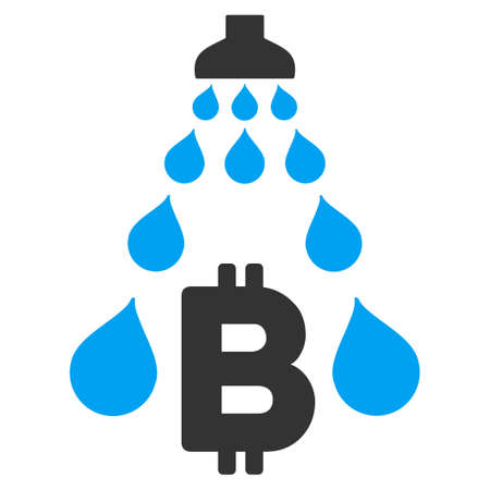 Bitcoin Laundering Shower flat raster illustration for application and web design.