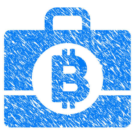 Grunge Bitcoin Accounting Case icon with grunge design and dust texture. Unclean raster blue pictogram for rubber seal stamp imitations and watermarks. Draft sticker symbol. Stock Photo