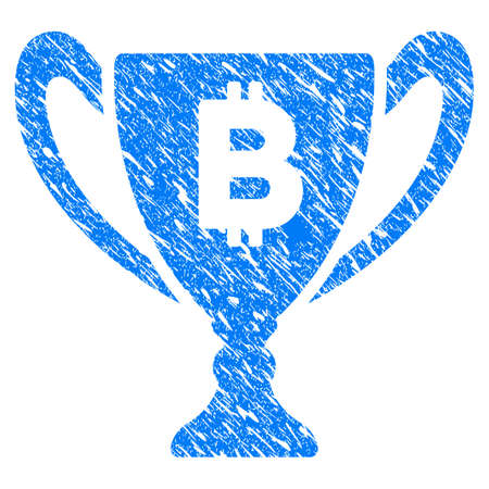 Grunge Bitcoin Award Cup icon with grunge design and dust texture. Unclean raster blue pictogram for rubber seal stamp imitations and watermarks. Draft emblem symbol.